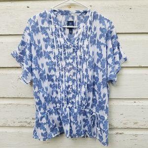Izod Blue White Floral Print Peplum Cotton Top